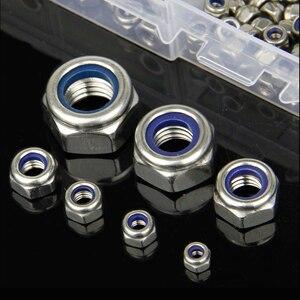 Image 3 - 180 pz/set DIN985 M3 M4 M5 M6 M8 M10 M12 304 Dadi di Bloccaggio In Acciaio Inox Esagonale In Nylon Set Esagonale Viti presa Mobili Bulloni Kit