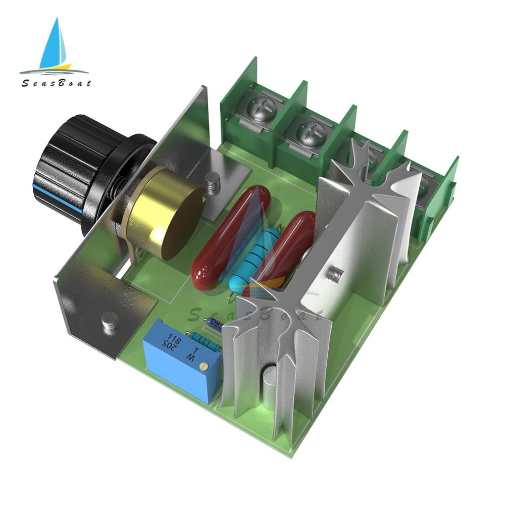 220 В переменного тока 2000 Вт SCR регулятор напряжения модуль диммеры Диммеры Регулятор скорости двигателя регулятор температуры регулируемый...