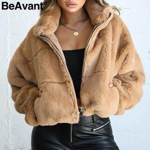 Image 2 - BeAvant Thick teddy faux fur winter coat women Casual autumn zipper soft female outwear coats Long sleeve streetwear lady jacket