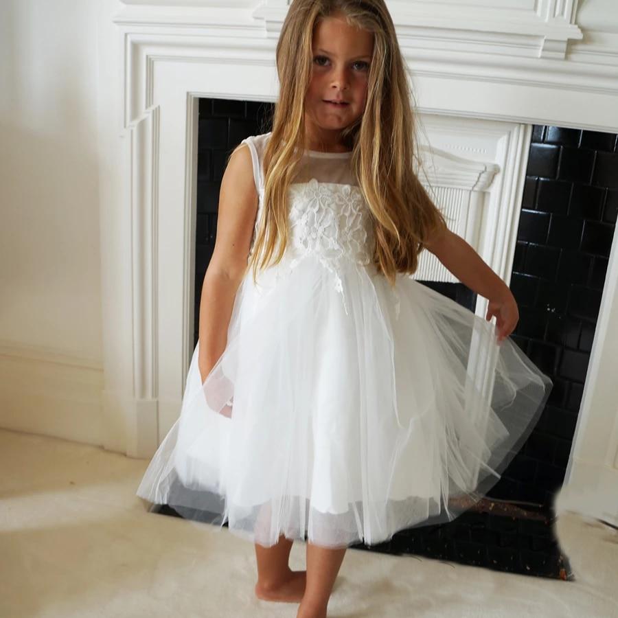 Flower Girl Dresses Tulle Lace Communion Dresses Ball Gown Party Dress Bow Tie Vestidos De Comunion 2020