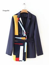 Women fashion stripe patchwork blazer pocket elegant office lady work blazer suit dual pocket blazer