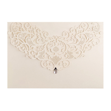 25Set/Pack Design Gem Invitaciones White Laser Cut Invitaitons for Wedding Blank Print Paper Custom Card Thank You Bridal Shower