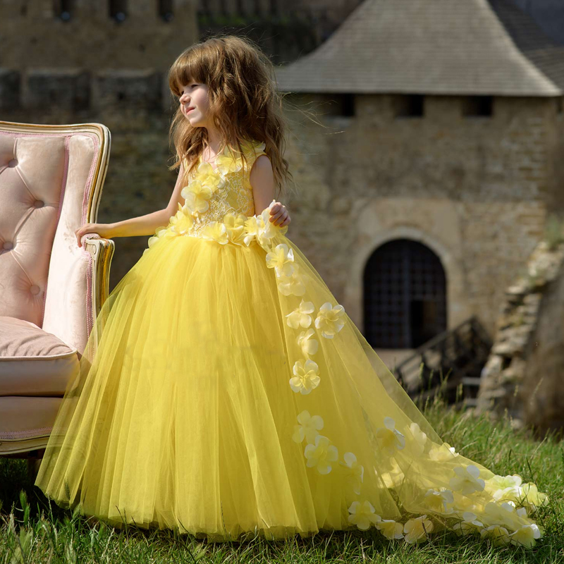 Yellow 2019 Flower Girl Dresses For Weddings Ball Gown Tulle Lace Flowers Long First Communion Dresses Little Girl