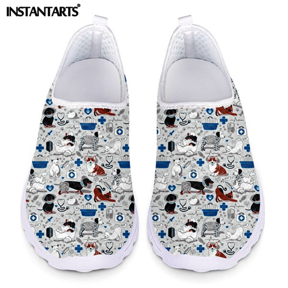INSTANTARTS Woman Shoes VET Nursing Medicine Healthy Veterinary Cats Dogs Printed Casual Ladies Flats Light Sneakers Shoes Mujer