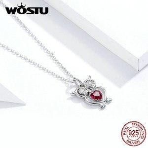 Image 4 - WOSTU 100% Reale 925 Sterling Silver Gufo Con Cuore Rosso Dorp Orecchini e Monili Della Collana Set Per Le Donne Fare Abiti Da Sposa regalo del partito