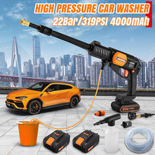 22Bar/319PSI taşınabilir yüksek basınçlı kablosuz elektrikli yüksek güçlü araba yıkama tabancaları makinesi 0 4000mAh şarj edilebilir yıkama pompası
