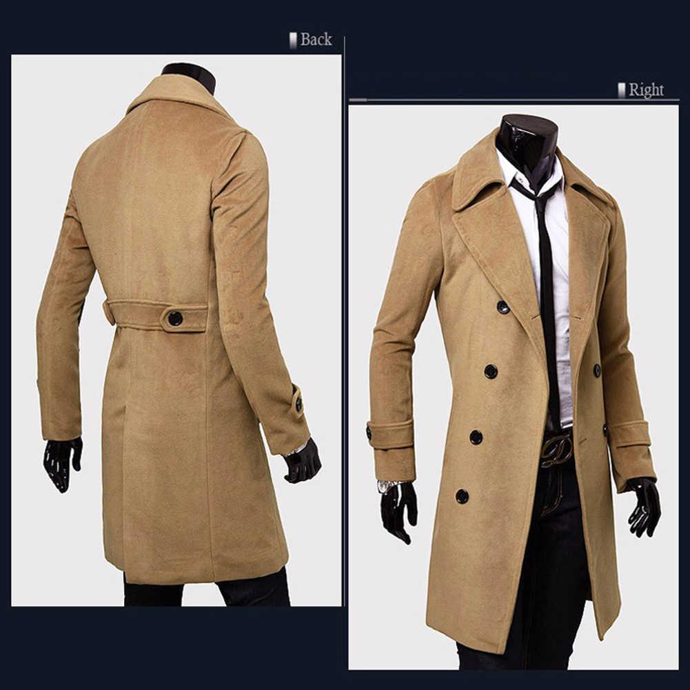 겨울 모직 자켓 남자 코트 따뜻한 솔리드 자켓 더블 브레스트 비즈니스 캐주얼 오버 코트 롱 코튼 칼라 트렌치 코트