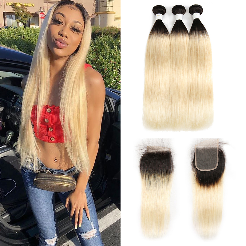1B/613 Ombre Blonde Human Hair Bundles With Closure 4x4 KEMY HAIR Brazilian Straight Hair Weave Bundle Non Remy Hair 3PCS