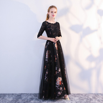 Evening Dresses Elegant O-Neck Lace Tulle Formal Evening Gowns Party Dress Robe De Soiree Vestidos De Fiesta De Noche