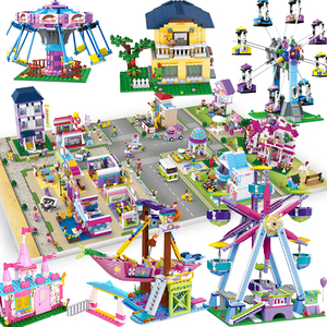 Ferris wheel City house town Garden shop store hotel Building kits blocks Bricks Villa architecture friends Girl country street