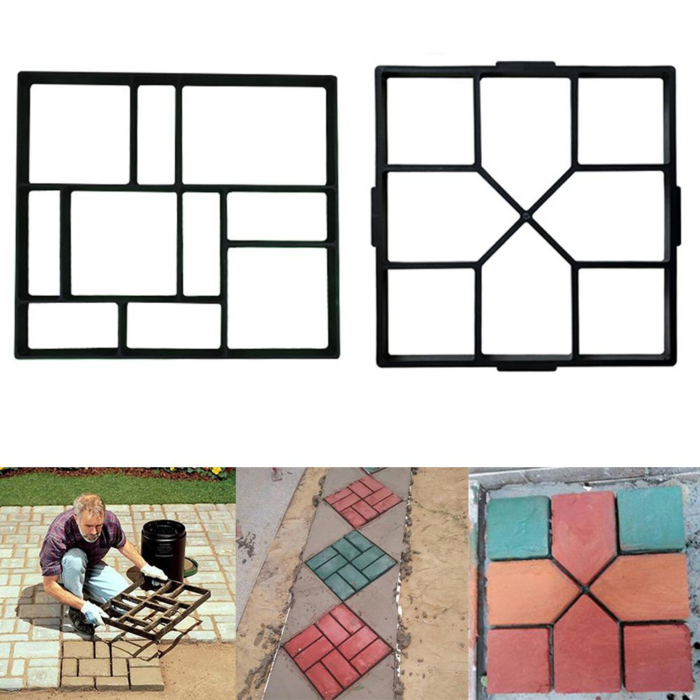 New Black PP Resin Making DIY Paving Mould Home Garden Floor Road Concrete Stepping Driveway Stone Path Mold Patio Maker