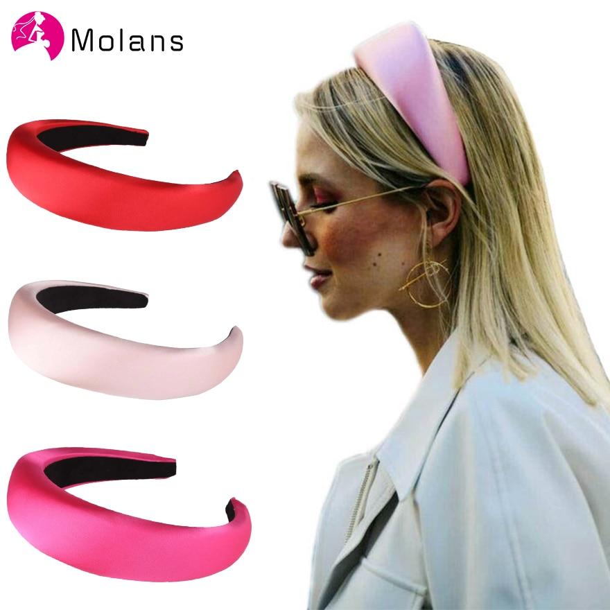 Molans Autumn Design Padded Headband In Orange Simple Solid Sponge Stain Headbands Girls Hair Accessories Hairbands Hair Hoop