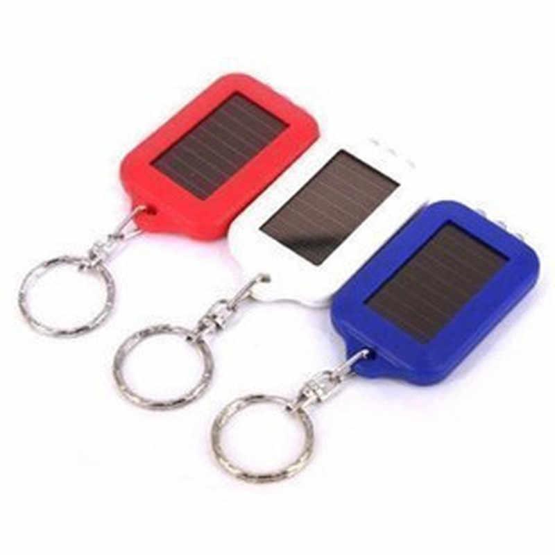 1PC Mini Tragbare Solar Power 3 LED Licht Schlüsselbund Schlüsselbund Taschenlampe Im Freien Notfall Licht Werkzeuge