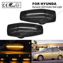 2Pc For Hyundai Sonata Tucson Elantra Tiburon Accent Smoke Dynamic LED Fender Side Marker Light Turn Signal Lamp Indicator Light