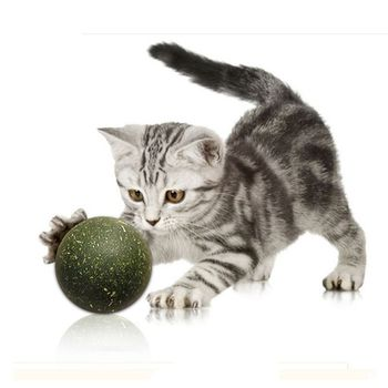 Pet Cat Catnip Ball Cats Teeth Cleaning Improve The Appetite Chew Toys Cat Healthy Safe Edible Treating image