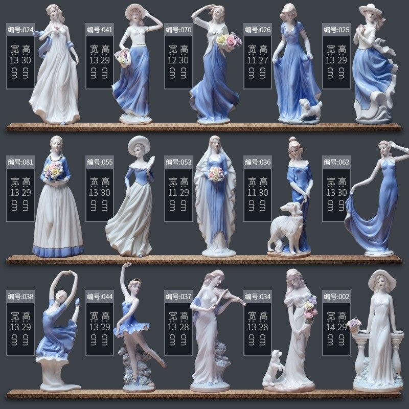 Estatuilla de cerámica europea de belleza para el hogar, decoración de escritorio, adornos para manualidades, chicas occidentales, porcelana, adorno artesanal, Mié Cabeza de oveja de resina creativa cabeza de cráneo colgante de pared 3D Animal escultura de Longhorn figuritas artesanías cuernos decoración del hogar adornos