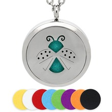 BOFEE Perfume Essential Oil Necklace Pendant Aromatherapy Diffuser Locket Magnetic Insect Stainless Steel Fashion Jewelry 30MM