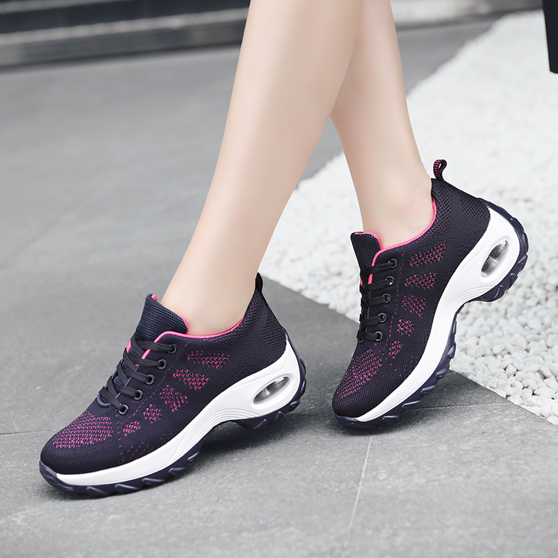 Big Size 41 42 Running Shoes For Women Fashion Sneakers Cushioning Height Platform Breathabla Mesh Sport Walking Runway Shoes