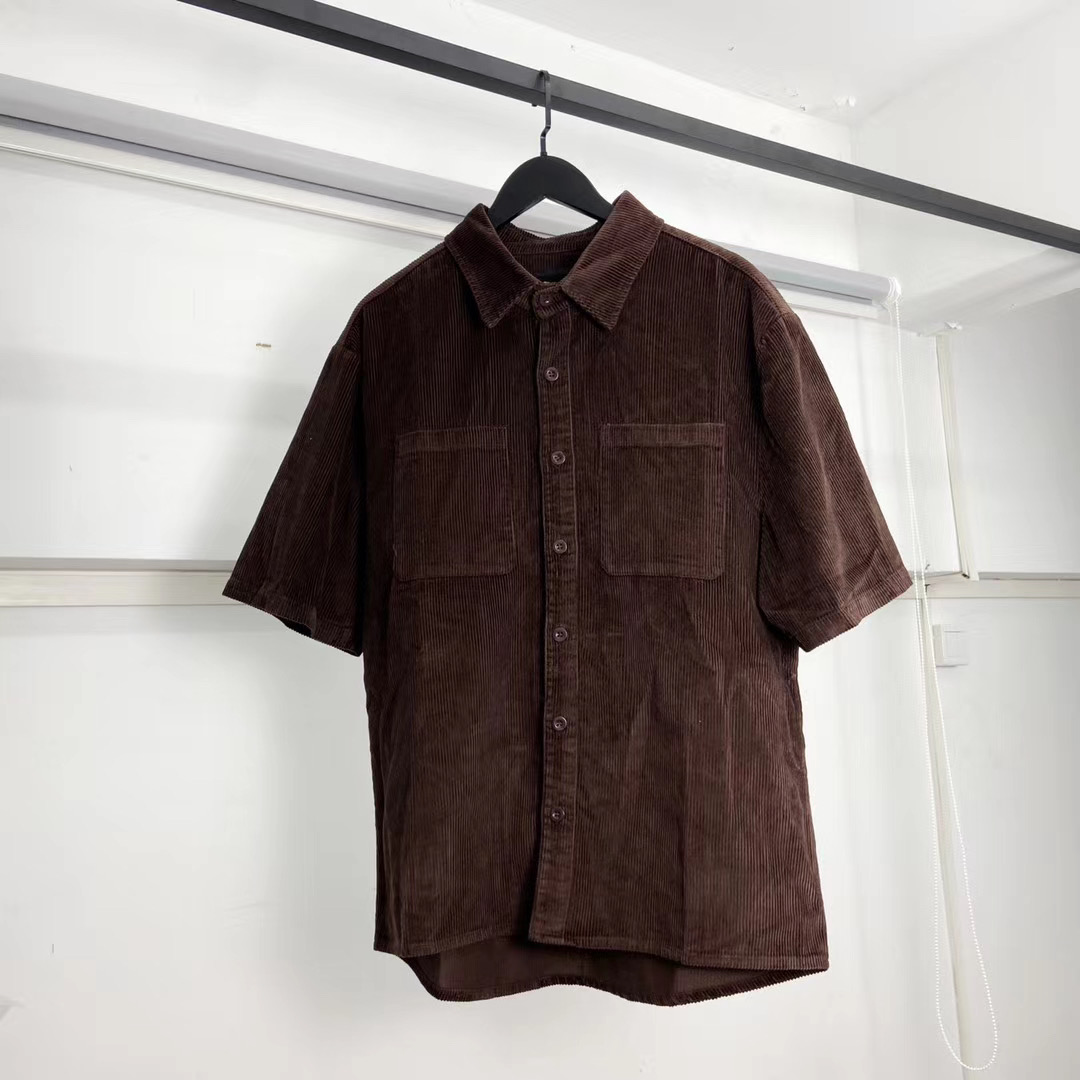 2020ss 1:1 Best Quality Justin Bieber Drew House Brown Coduroy Shirts Men Women Casual Short Sleeve Shirt Hiphop Drew Shirts
