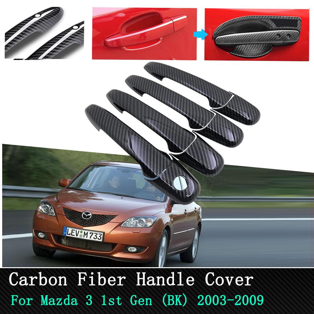 Car Chrome/Carbon Door Handle Stickers for <font><b>Mazda</b></font> <font><b>3</b></font> BK Sedan Hatch MPS <font><b>2004</b></font> 2005 2006 2007 2008 2009 Door Handle Cover Accessorie image