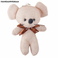 HANDANWEIRAN 1 piece 12cm creative bright silk mouse plush toy Pp cotton stuffed toy boy and girl holiday gift decoration pendan