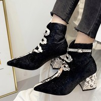 Novelty Women's boots Snake Pattern laced women's Ankle boots Square Heel Casual Short Tube boots women winter 2019 botas mujer