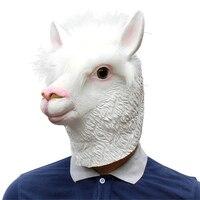 Funny Alpaca Llamas Head Latex Rubber Face Mask Adult Party Masks Jungle Llama Party Costume Prop