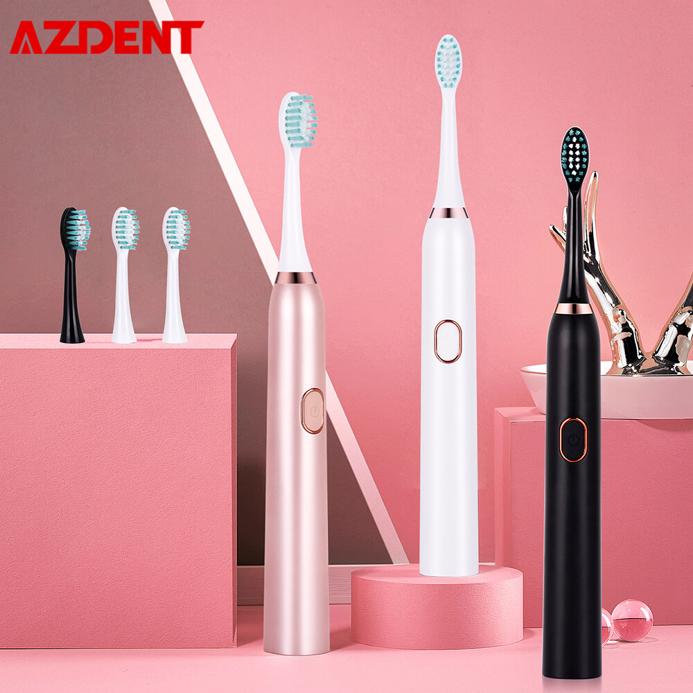 AZDENT USB Rechargeable Electric Toothbrush Pink White Black 3 Modes Oral Cleaning  Brush 2 Min Timer Waterproof 30S Reminder