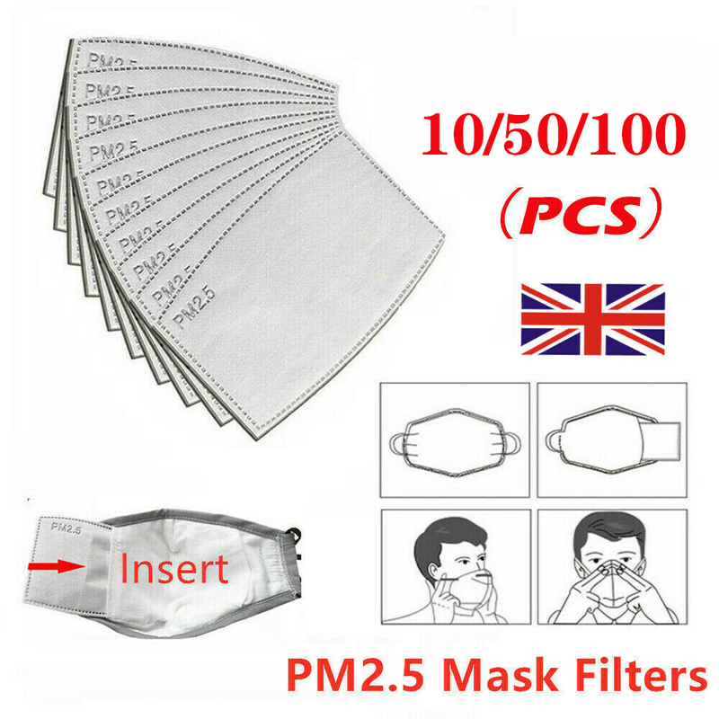 10/50/100PCS PM2.5 Anti Haze Mouth Mask Replaceable Filter-slice 5 Layers Non-woven Activated Carbon Filter Face Masks Gasket