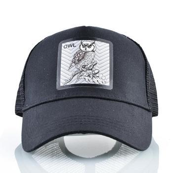 Snapback Trucker Cap Men Summer Breathable Mesh Baseball Caps Women Black Fashion Hip Hop Baseball Hat With OWL Patch Kpop Bone 2