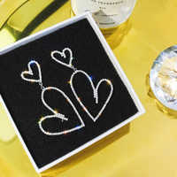 2019 New Arrival Metal Trendy Heart Women Dangle Earrings Loving Earrings Female Irregular Design Heart-shaped Long Style Jewe