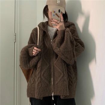 Women Autumn Winter Twist Zipper Hooded Sweater Coat Knitted Cardigan Jacket Oversized Long Lantern Sleeve Outwear 1
