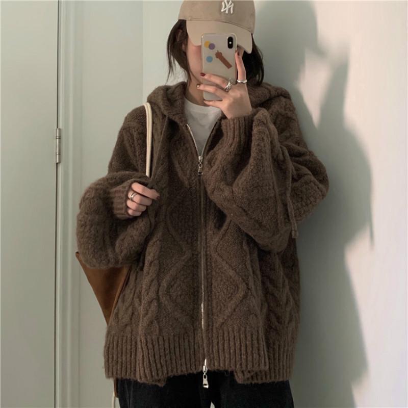 Women Autumn Winter Twist Zipper Hooded Sweater Coat Knitted Cardigan Jacket Oversized Long Lantern Sleeve Outwear