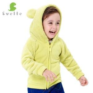 Image 4 - Svelte outono inverno para crianças para meninos pele de lã macia com capuz meninas jaqueta com capuz outerwear casaco roupas com orelhas de urso dos desenhos animados