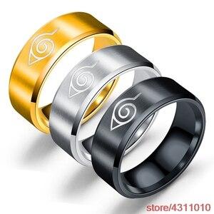 Anime Uzumaki Naruto Ring Cosplay The Fire Nation Leaf Konoha Village logo Men women Ring Stainless Steel Finger Ring Jewelry