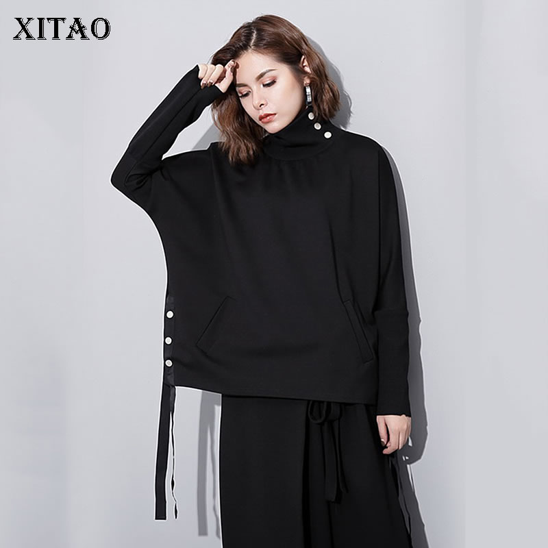 [XITAO] Europe 2018 New Autumn Fashion Women Turtleneck Solid Color Top Female Full Sleeve Loose Pullover Sweatshirt GWY2649 1