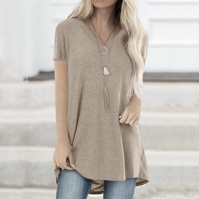 Women Solid T-Shirt Summer Plus Size Long Tee Shirt Top Women V Neck Short Sleeve Long Casual Women Loose T-Shirt Femme