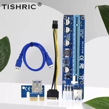 TISHRIC VER008C yükseltici kart USB3.0 PCI PCIE PCI-E 1X To 16X genişletici yeni 60CM 008C yükseltici adaptörü ile LED GPU madenci madencilik