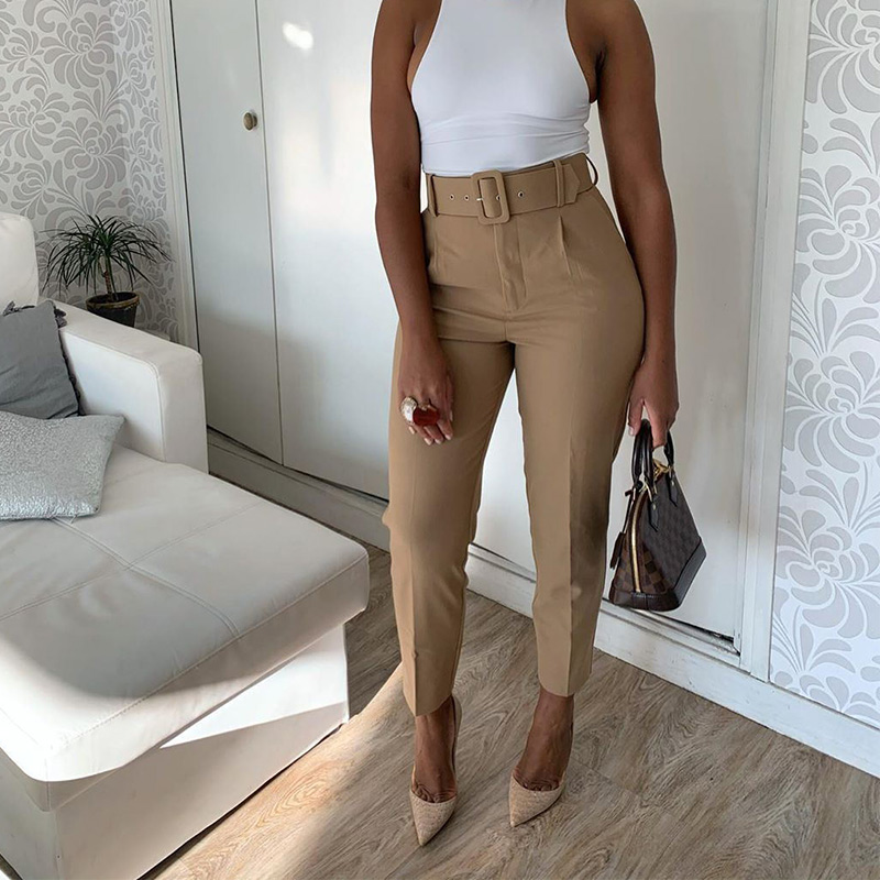 Women's Pants High Waist With Belt Classic Pockets Office Lady Ankle-length Trousers Female 2021 Spring Fashion Pink Harem Pants