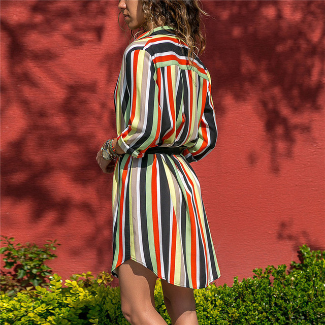 Summer Boho Beach Dresses Women Casual Striped Print A-line Mini Party Dress 1