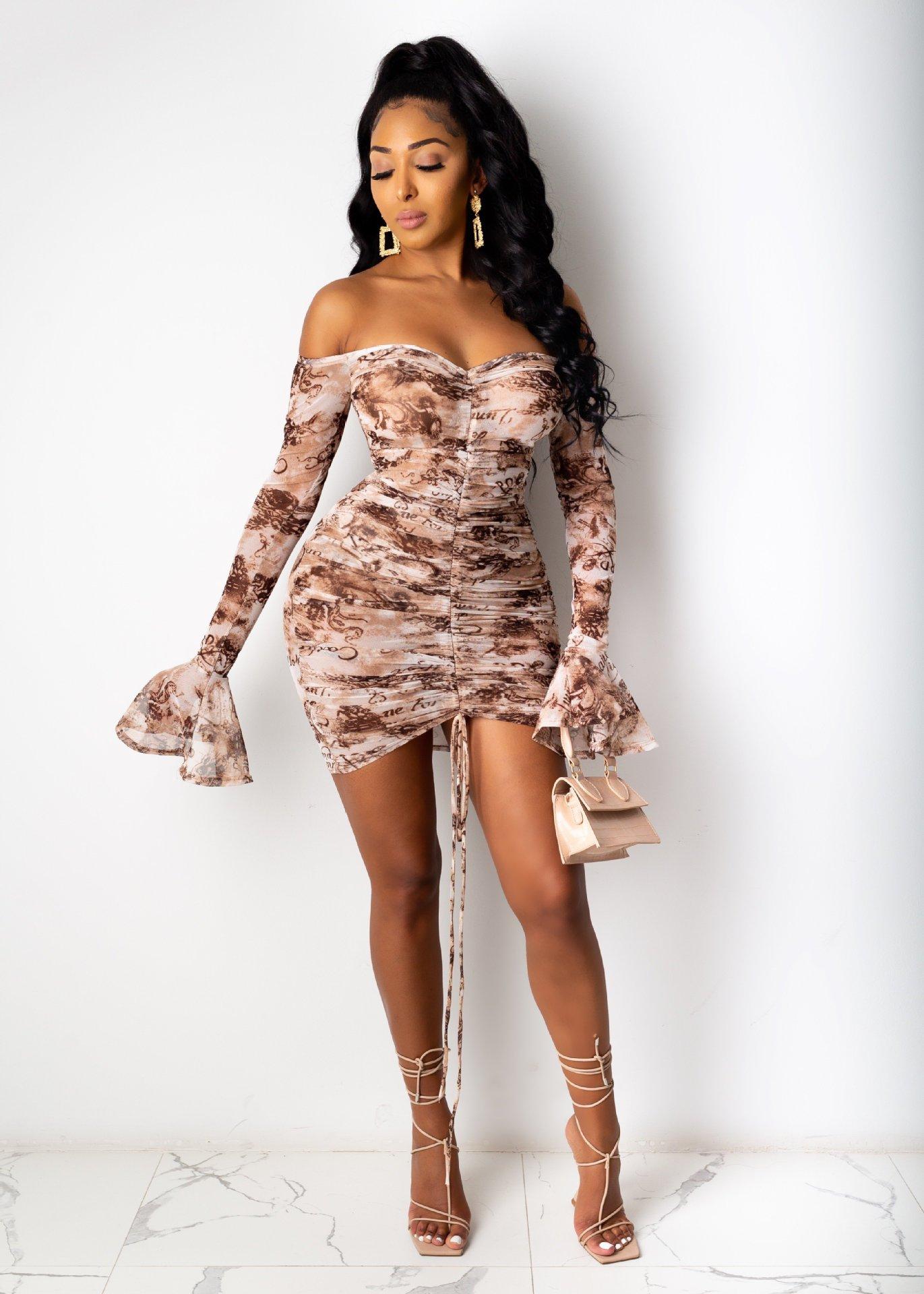 Hcdee8cf911184f23882424cfe3d37b14I - Adogirl Snake Print Long Sleeve Dress Women Evening Party Night Dresses Sexy Off Shoulder Drawstring Bodycon Slim Mini Dress