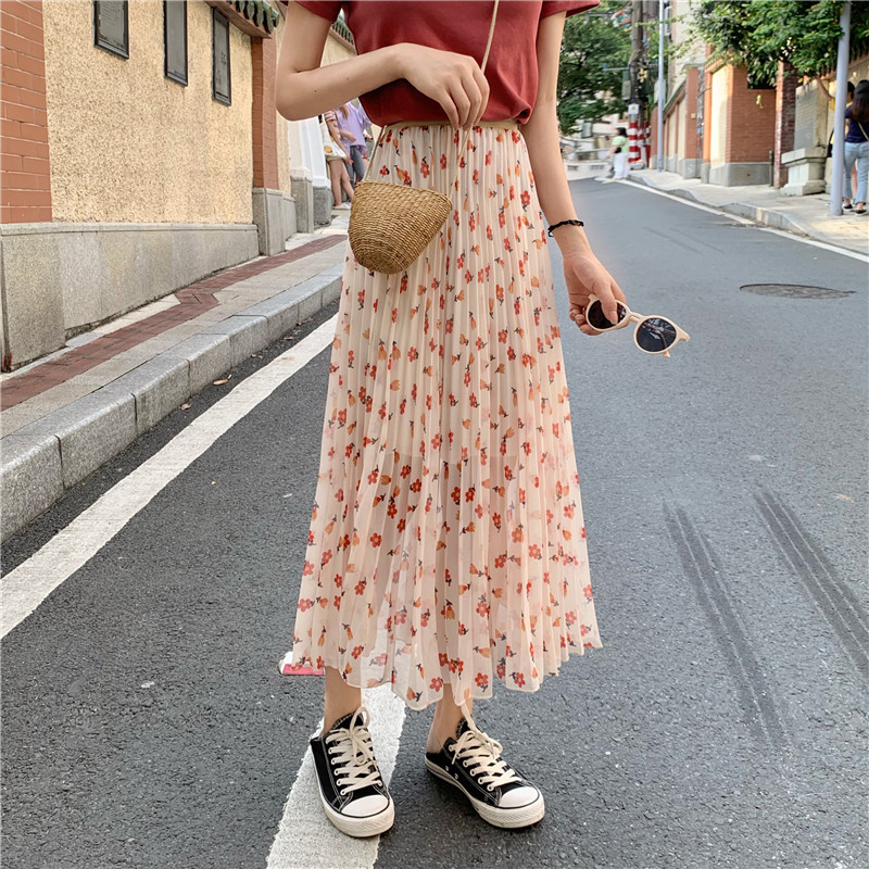 Photo Shoot 2019 WOMEN'S Dress Summer Sweet Weep Yafeng Small Flower Loose-Fit High-waisted Pleat Skirt Medium-length Dress