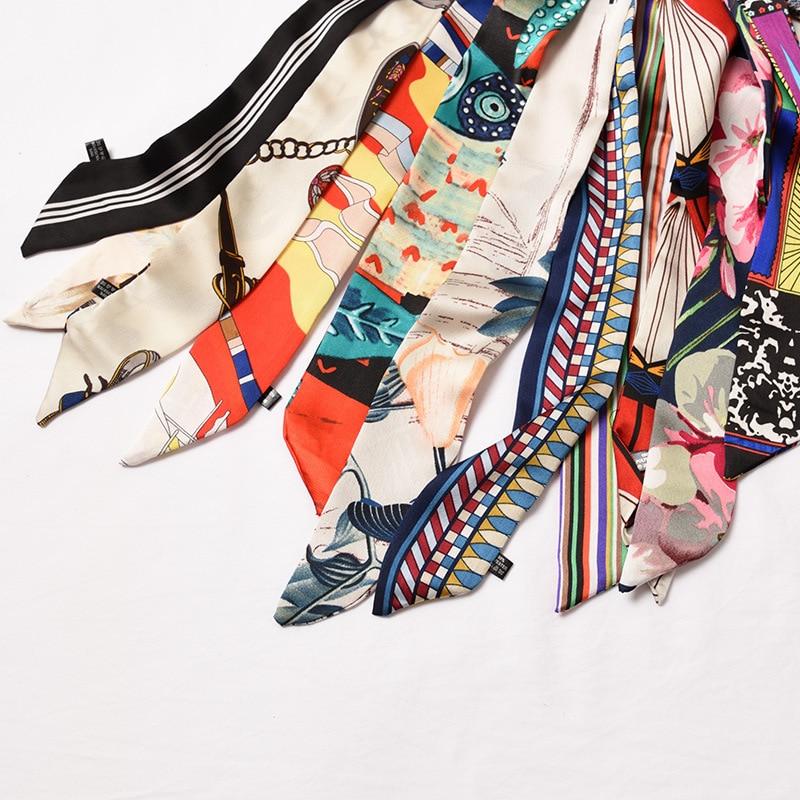 Small Silk Scarf Female Spring And Autumn Narrow Strip Scarf Summer Scarf Belt Ribbon Bag Decorative Ribbon