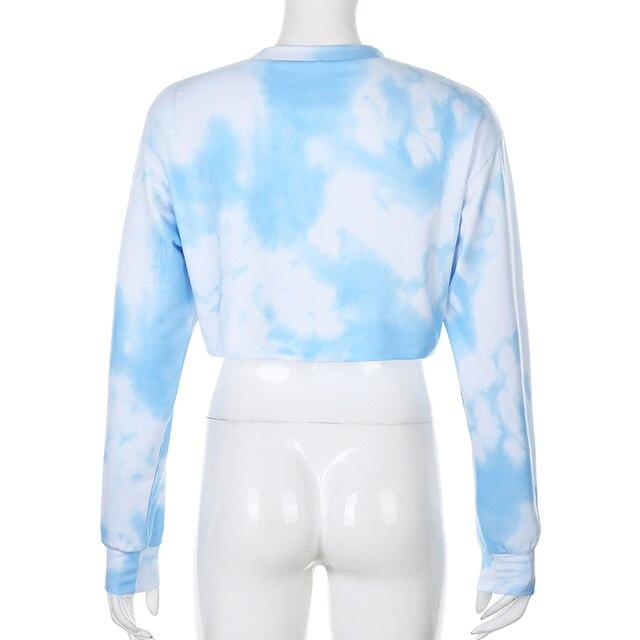 Crop top hoodie in light blue