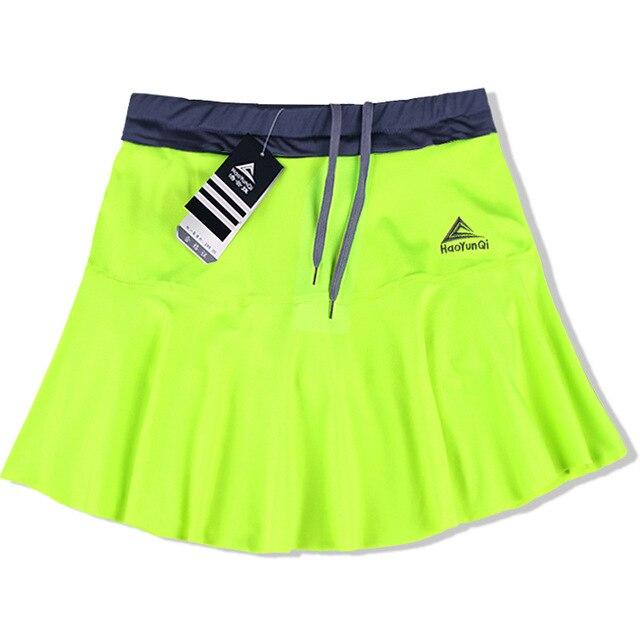 Женская Спортивная юбка весна лето тонкий анти-светильник Быстросохнущий дышащий пот Бег Фитнес стрейч шорты с шорты безопасности - Цвет: Green