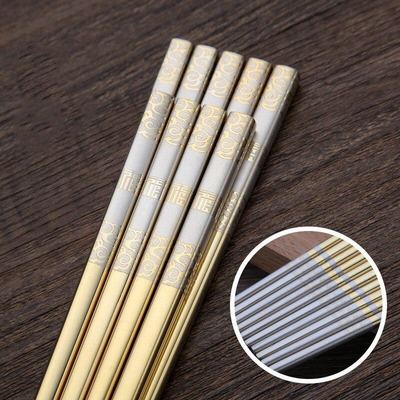 Китайские палочки для измельчения, 500 пар, корейские пустые антиожоги, многоразовые палочки из нержавеющей стали 304, японские