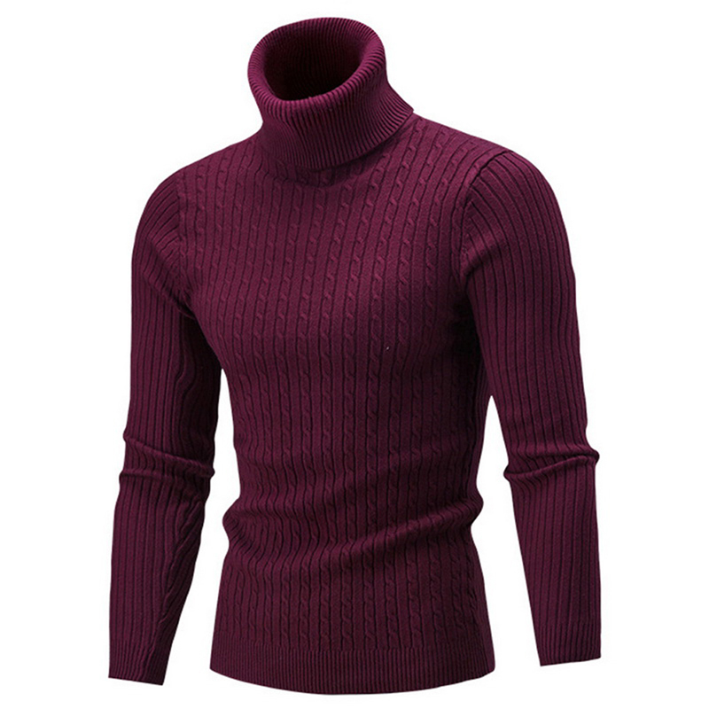 Men's Warm Turtleneck Sweater Fashion Solid Knitted Mens Pullover Sweaters Casual Slim Pullover Male Double Collar Top