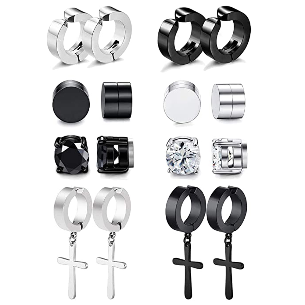 8 пар магнитные серьги со шпилькой, для мужчин и женщин из нержавеющей стали обруч Крест не имитация пирсинга датчики серьги черный CZ магнит...
