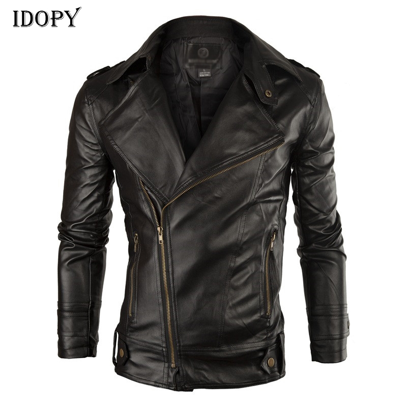 Idopy Fashion Men's PU Leather Jacket Faux Leather Jacket Coat For Male Solid Slim Fit Turn Collar Motorcycle PU Jacket And Coat