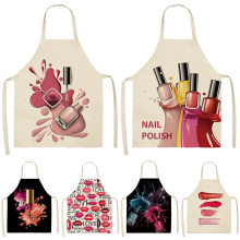 Lipstick Aprons Nail-Polish Cleaning-Pinafore Kitchen Home-Cooking Women Bibs Linen Cotton